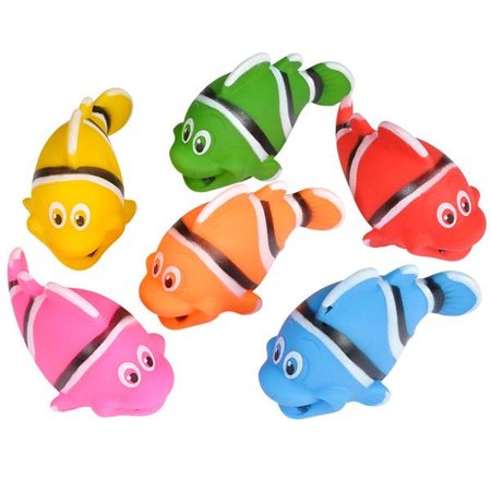 Rubber Fish (Rhode Island Novelty - Rubber Bath Toys - CLOWN FISHES (Set of 6)