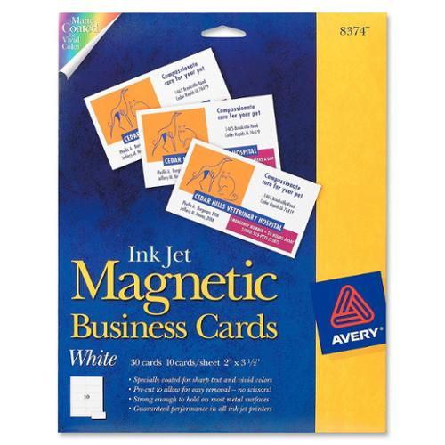 "Avery Business Card - 2"" X 3.50"" - Matte - 30 / Pack - White (AVE8374)"