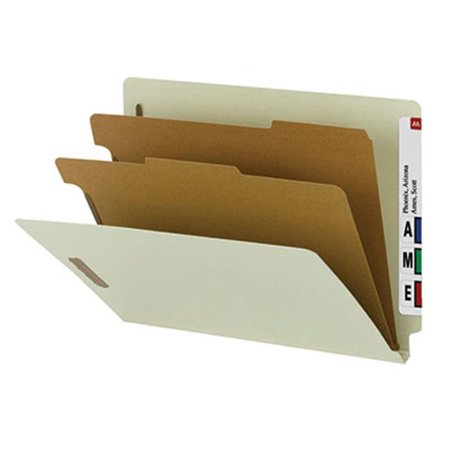Recycled End Tab Classification Folders - Smead® End-Tab Classification Folders, 2 Dividers, 2 Partitions, Straight Cut, Letter Size, 100% Recycled, Gray/Green, Box Of 10