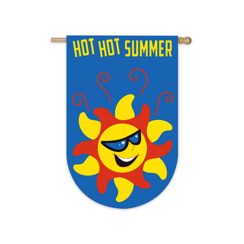 House Size Applique Flag, Hot Hot Summer, 28x44 Inches
