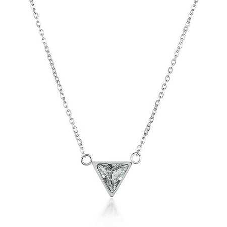 Designer Triangle Necklace (Triangle Cut Cubic Zirconia Stainless Steel Necklace - 18 )