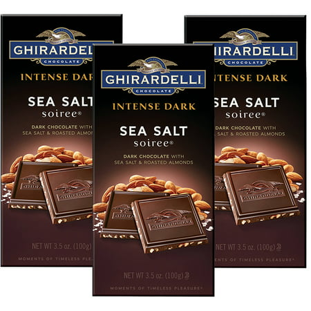 (3 Pack) Ghirardelli Dark Bar Sea Salt Soiree Bars, Chocolate Intense, 3.5 Oz