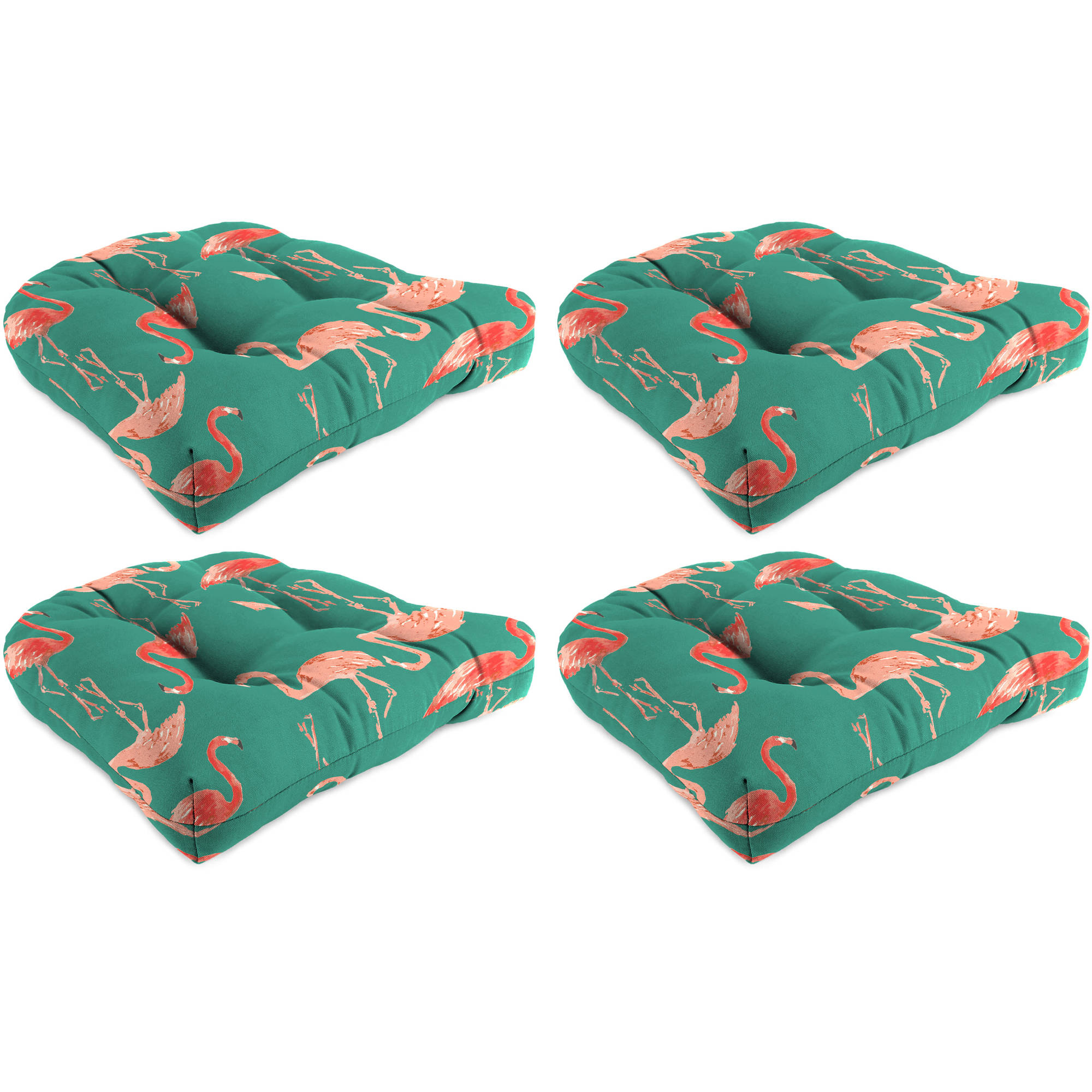 Charming Jordan Manufacturing Outdoor Patio Tufted Wicker Chair Cushions, Flamingo  Gem, Set Of 4