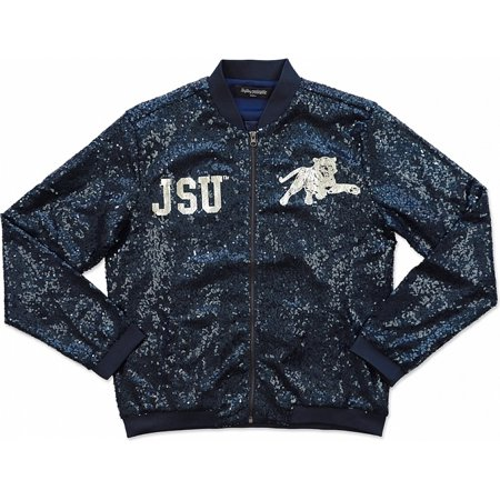 Big Boy Jackson State Tigers Ladies Sequins Jacket [Navy Blue - 2XL]