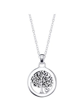 "Sterling Silver ""Family Is Everything"" Tree Necklace, 18"""