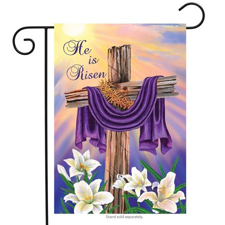Easter Cross Garden Flag Religious He Is Risen Briarwood Lane 12.5