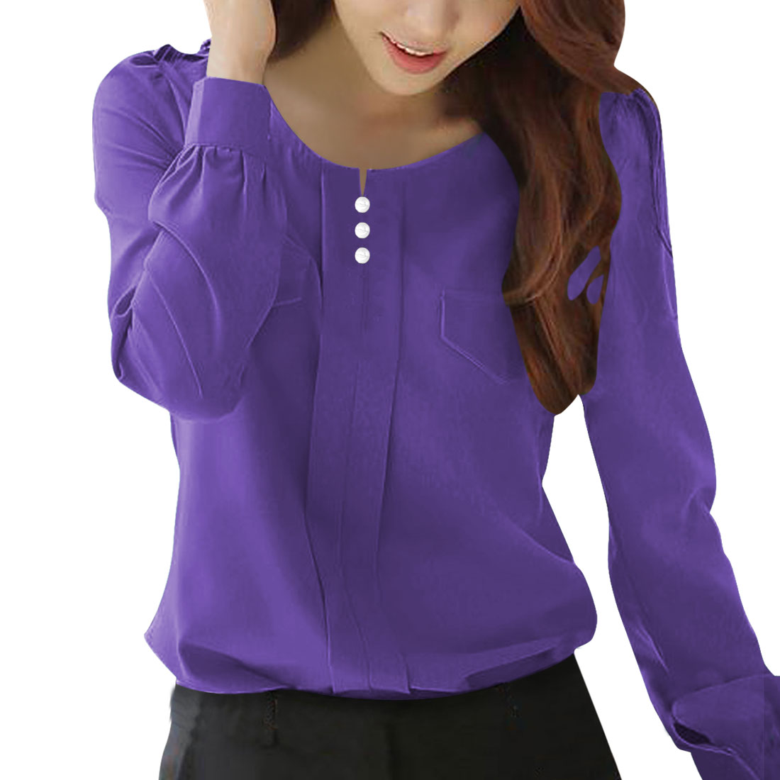 Allegra K Women's Buttons Decor Mock Pockets Ruched Blouse Purple (Size XL / 16)