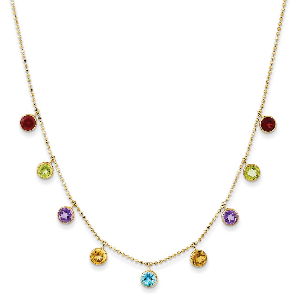 14K Yellow Gold Amethyst, Blue Topaz & Citrine Round Colorful Bezel Station Necklace by