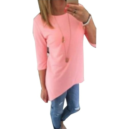 Casual Women Long Sleeve Tops Loose Solid Color Crew Neck Ladies Plus Size T-Shirt