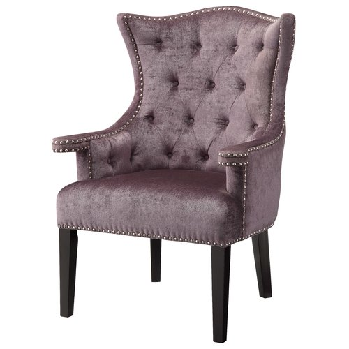 Crestview Collection Fifth Avenue Eggplant Velvet Wingback Chair with Nailhead Trim
