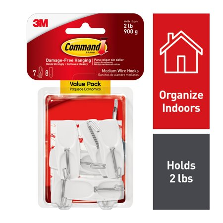 Command Wire Toggle Hook Value Pack, White, Medium, 7 Hooks, 8 (Hood Wire)
