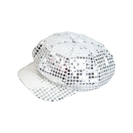 Sequin Newsboy Hat Cap - Funky Retro Silver Costume Sequin Newsboy Baseball Hat