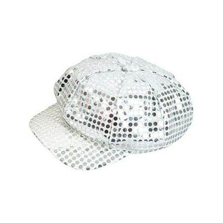 Funky Retro Silver Costume Sequin Newsboy Baseball Hat