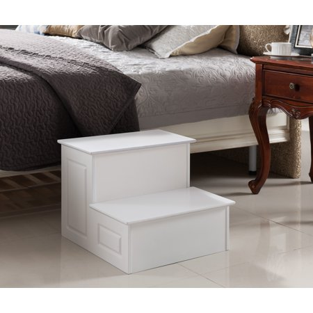 Pilaster Designs Large Wood Bedroom Step Stool White Finish