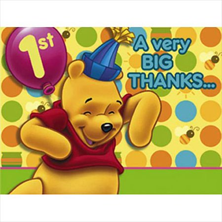 Winnie the Pooh Balloon 1st Birthday Thank You Notes w/ Env. (8ct) - Thank You Balloon
