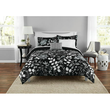 Mainstays Kamala Bed in a Bag Coordinated Bedding, Black, Queen
