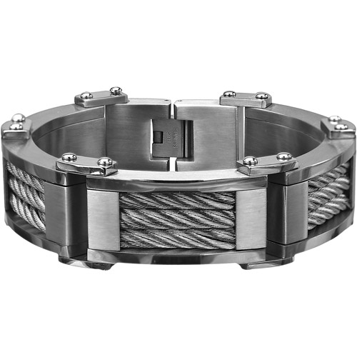 Steel Art Men's Stainless Steel Three-Cable Link Matte And Polish Finished Bracelet, 8-3/4