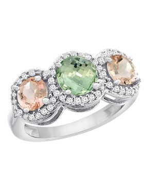 10K White Gold Natural Green Amethyst & Morganite Sides Round 3-stone Ring Diamond Accents, size 5