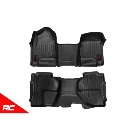 Rough Country Floor Liners compatible w/ 2014-2018 Chevy Silverado GMC Sierra Double Cab Full Console Front/Rear
