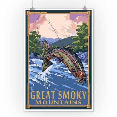 Smoky Mountain Scene (Great Smoky Mountains National Park, Tennesseee - Angler Fly Fishing Scene - Lantern Press Artwork (9x12 Art Print, Wall Decor Travel)