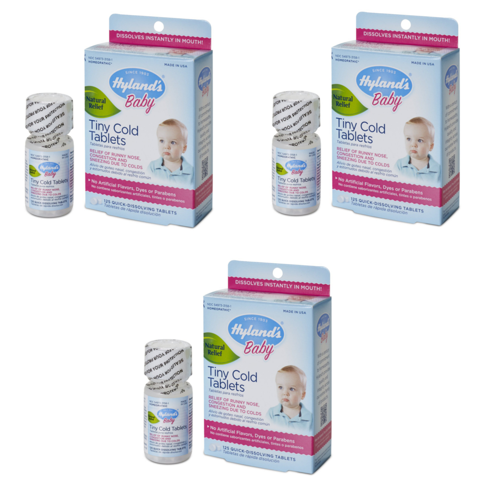 3 Pack Hyland's Baby Tiny Cold Tablets, 125 Count Each