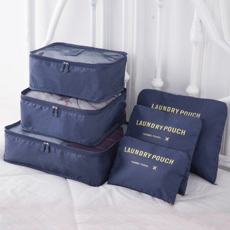 6Pcs/Set Oxford Travel Cloth Luggage Organizer Trip Journey Storage Cosmetic Bag Fashion Pouch