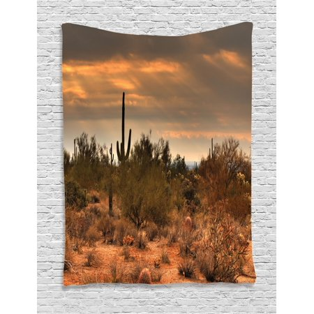 Saguaro Tapestry, Dramatic Shady Desert View with a Storm Cloud Approaching Western Arizona Photo, Wall Hanging for Bedroom Living Room Dorm Decor, Orange Green, by Ambesonne