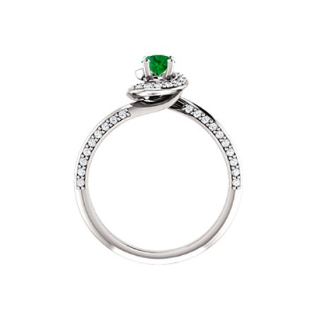 Cool Green Emerald CZ Swirl Halo Ring in 14K White Gold - image 1 de 8