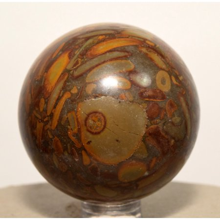 47mm Multicolor Bamboo Jasper / Brown Picture Jasper Sphere Polished Multicolor Snake Jade Crystal Mineral Ball - China + Plastic Stand