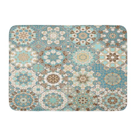 Octagonal Rug (GODPOK Abstract Blue Spain Octagonal Ornaments Design Manufacturing Oriental White Victorian Rug Doormat Bath Mat 23.6x15.7)