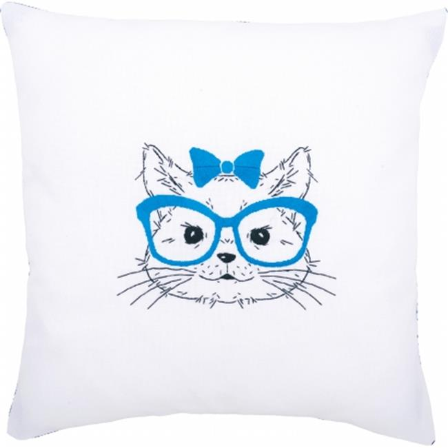 Cat With Blue Glasses Cushion Stamped Embroidery Kit - 16 x 16 in.