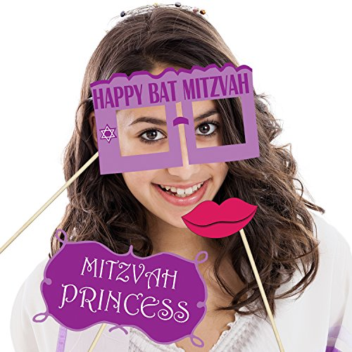 Bat Mitzvah Photo Booth Props - DIY Kit: Banners, Signs, Glasses, Mustaches, Jewish Phrases, Etc - Girl, Scrapbook or Party Favors Idea - Decorations Supplies - 26 pcs for Multiple Booths