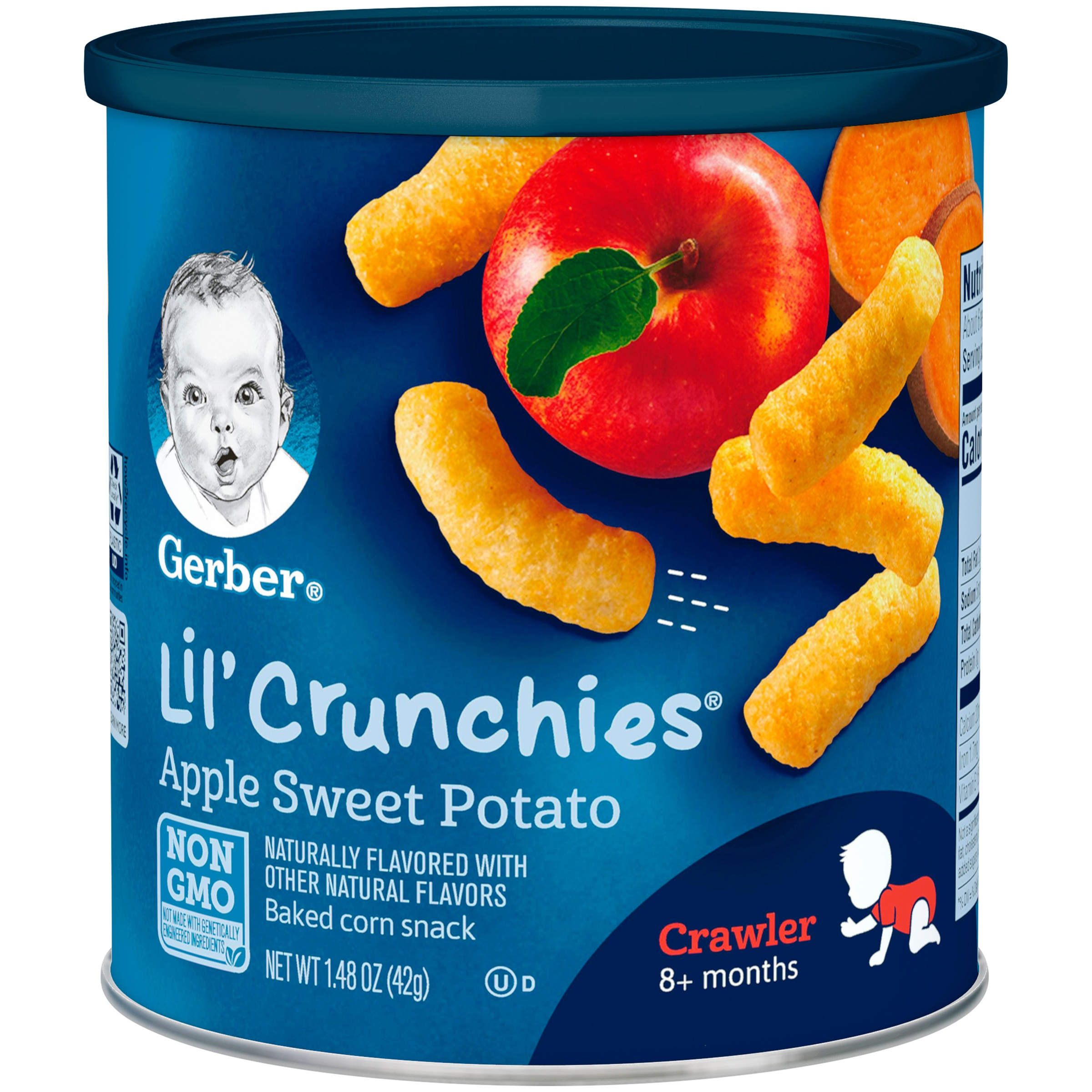 Gerber Lil' Crunchies Baked Whole Grain Corn Snack, Apple Sweet Potato, 1.48 oz. Canister