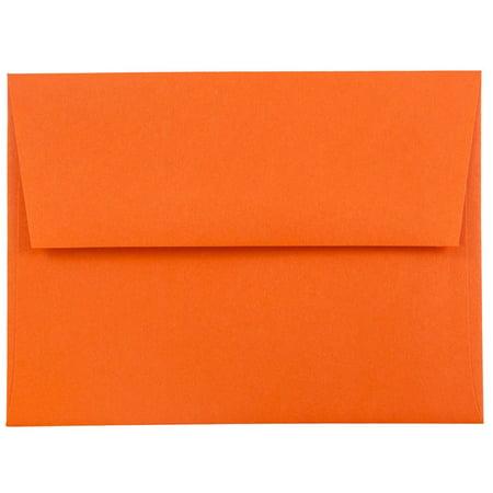 "JAM Paper A2 Invitation Envelopes- 4 3/8"" x 5 3/4"" Recycled Paper Envelope, Orange, 50/pack"