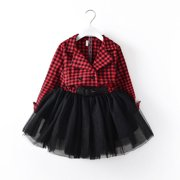 Xmas Gift Toddler Baby Girls Checked Dress Princess Party Prom Tulle Dresses 1pc