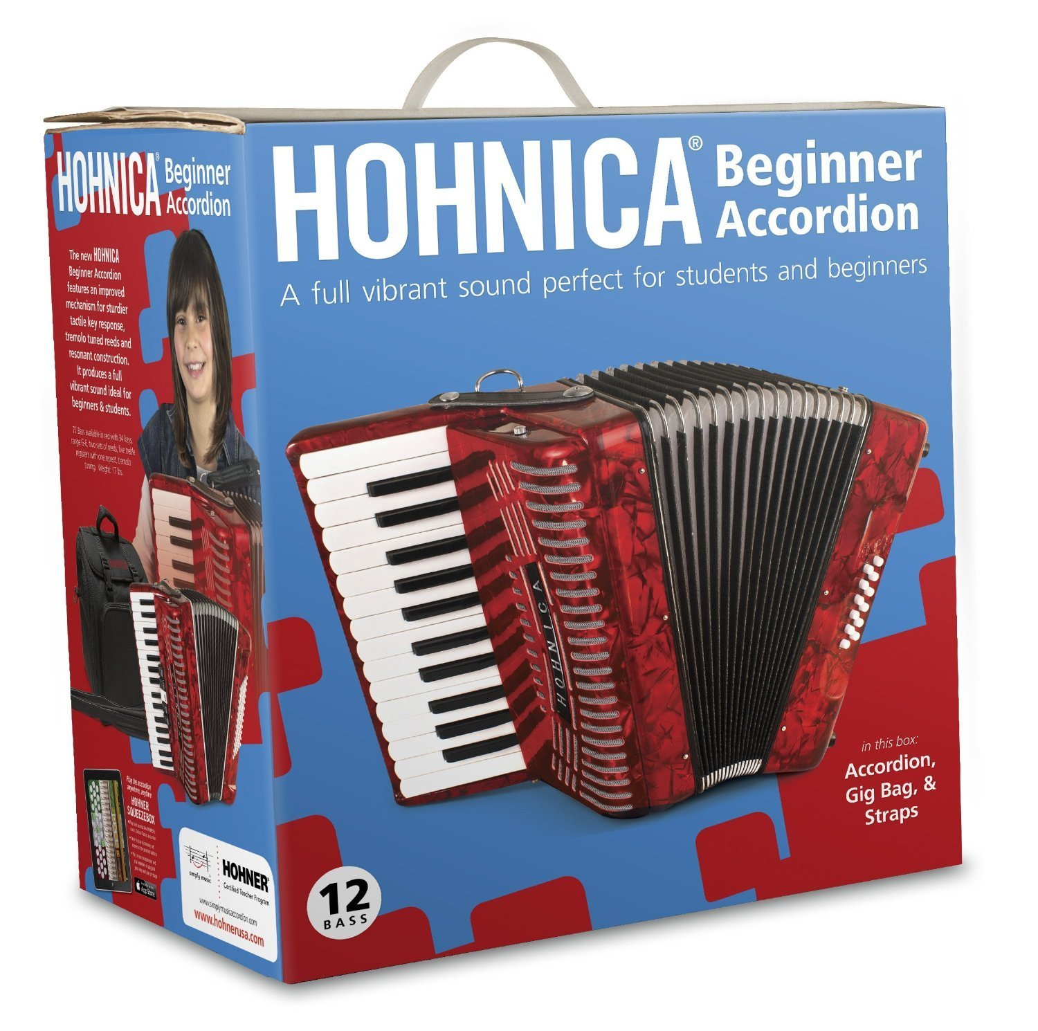 Hohner 1303RED 12 Bass Entry Level Student Accordion by Hohner