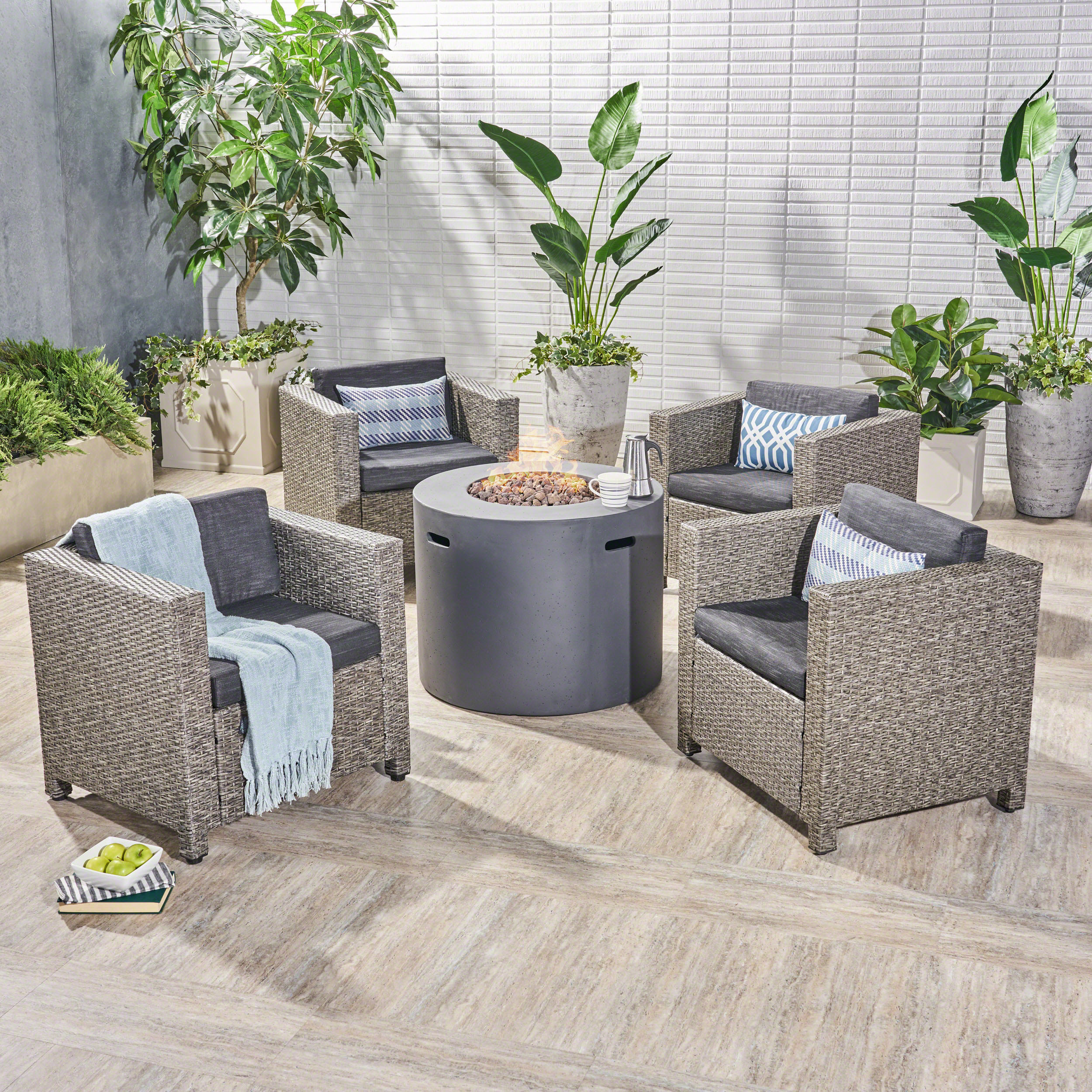 Eve Outdoor 5 Piece Wicker Club Chair Set with cushions and Round Fire Pit, Dark Brown, Beige, Light Gray