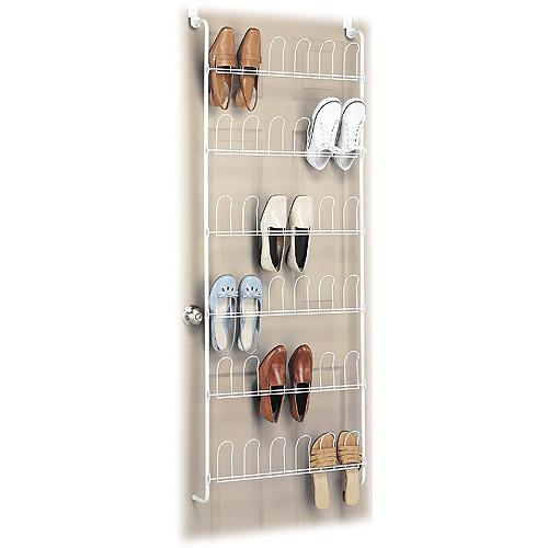 Whitmor 18-Pair Over-the-Door Wire Shoe Rack, White