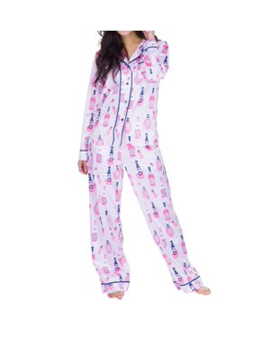 Women's Munki Munki M01896 Satin Rose Classic PJ Set