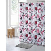 Pink Black and White Makeup Print PEVA Shower Curtain Liner Odorless, PVC and Chlorine Free, Biodegradable, Mildew Free, Eco-Friendly Size 72in x 72inPink Black and White