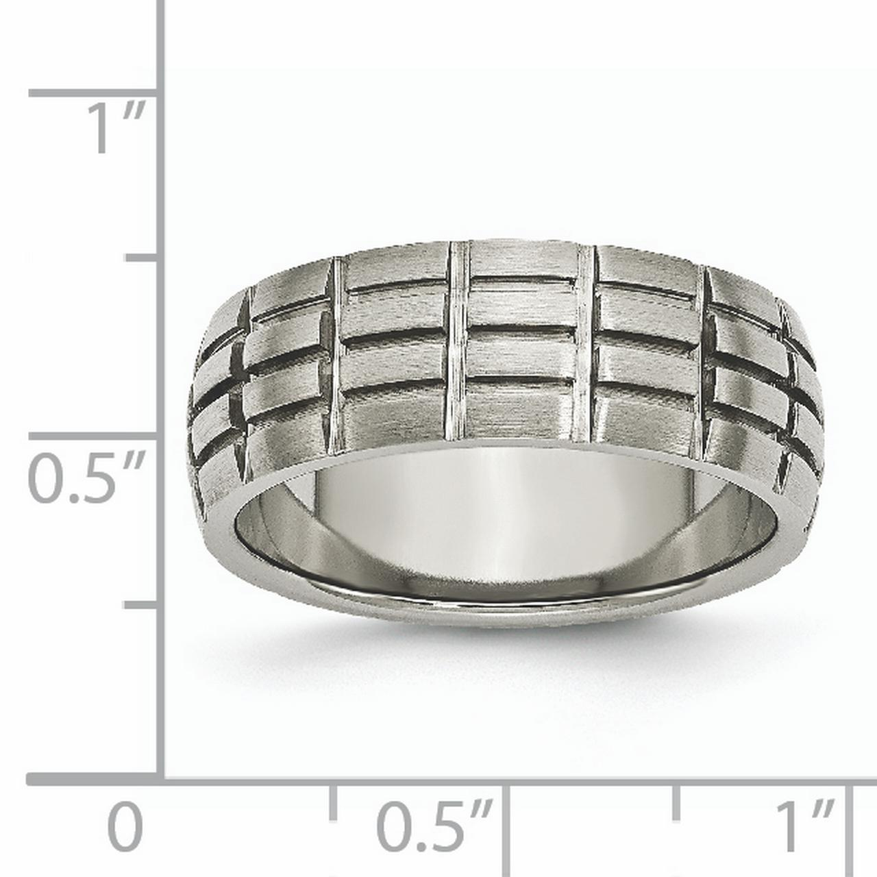 Titanium Notched Grooved 8mm Wedding Ring Band Size 11.00 Fashion Jewelry Gifts For Women For Her - image 5 of 6
