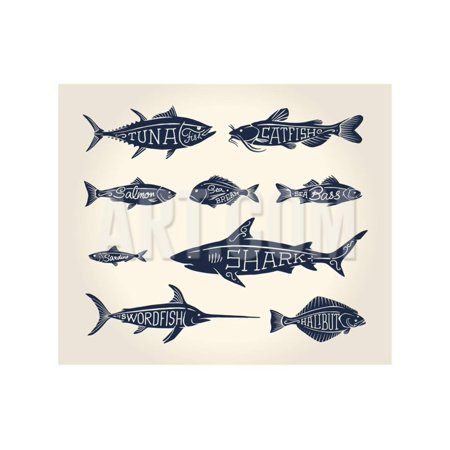 Vintage Illustration of Fish with Names in Tattoo Style over White Background Print Wall Art By hauvi - Tattoos Of Fish