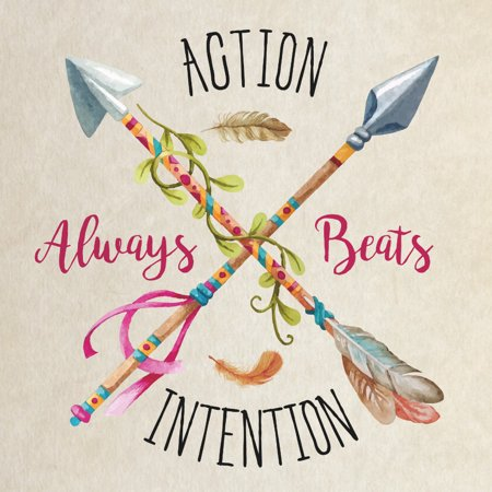 Action Always Beats Intention Quote Motivational Signs, 12x12