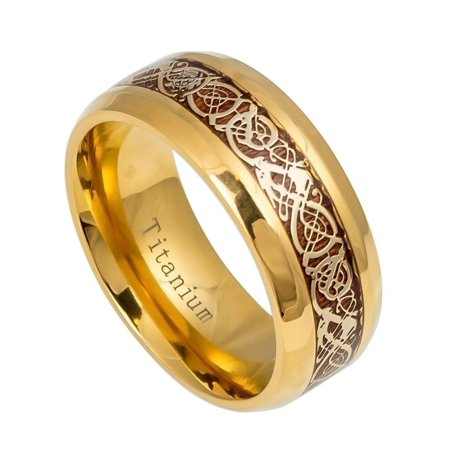 Men's 9MM Comfort Fit Titanium Wedding Band Gold Tone Celtic Design Rosewood Inlay Titanium Ring (Size 7 to 15) Contemporary Design Wedding Ring