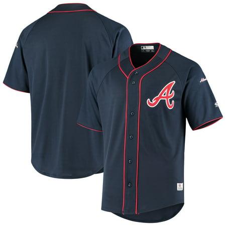 Men's Stitches Navy Atlanta Braves Raglan Jersey