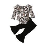 Yinyinxull 2PCS Toddler Baby Girls Autumn Clothes Leopard Romper Tops+Long Pants Outfits Black 12-18 Months
