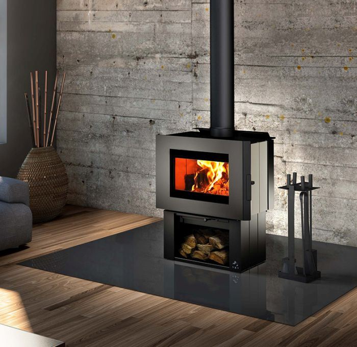 Soho Wood Stove w/Creme Enameled Side Panels and Regular Pedestal