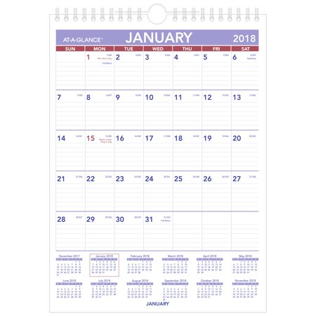 2018 AT-A-GLANCE Mini Monthly Wall Calendar, 12 Months, January Start, 8