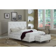 white faux leather queen size crystal tufted upholstered platform slat bed wood frame - White Leather Bed Frame