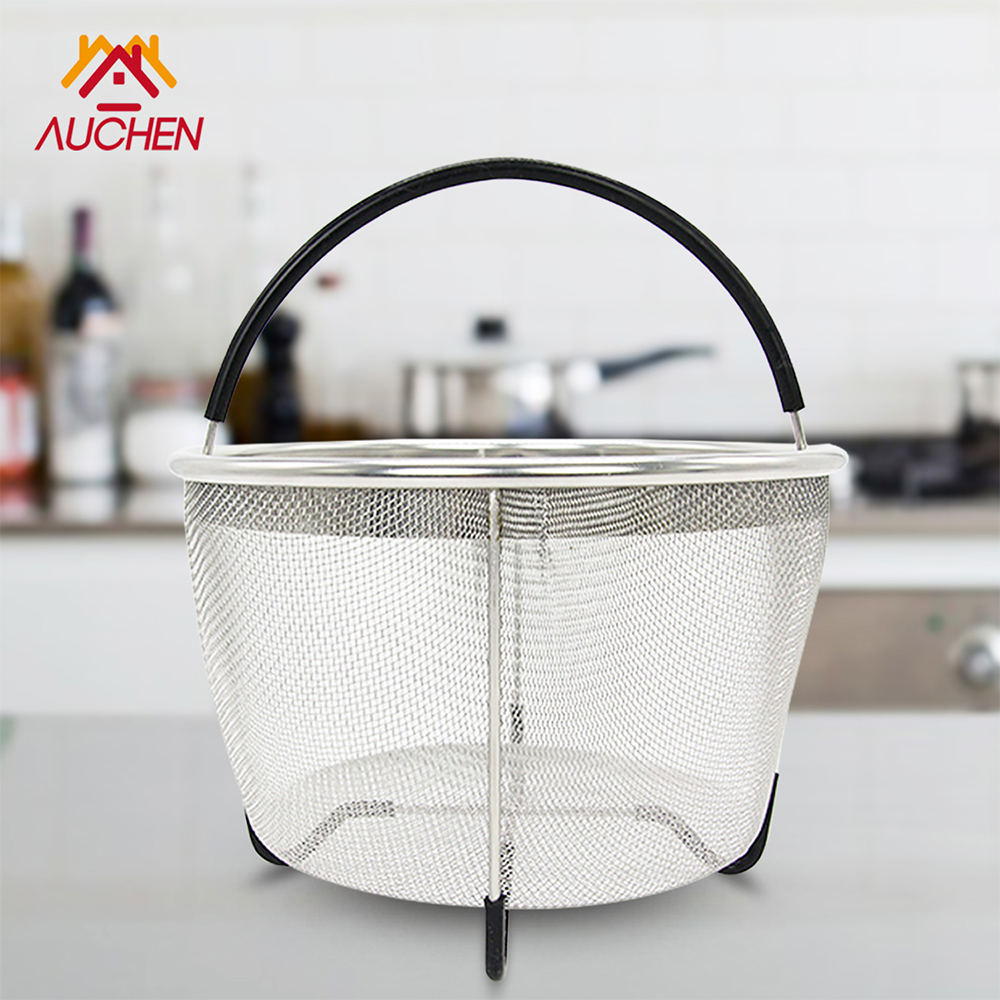 Vegetable Steamer Basket for 6QT Instant Pot Accessories - AUCHEN Stainless Steel Steam Insert with Premium Silicone Handle for Electric Pressure Cookers - Suitable for Vegetables, Eggs, Meats, etc